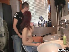 Redhead girl cheats with his BF&amp,#039,s bro