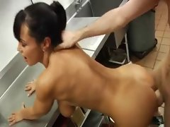 Busty Milf with perfect ass in the role waiter
