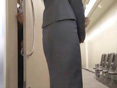 Japanese OL with hidden vibrator under her skirt