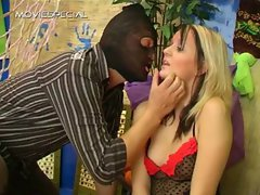 Blond whore blindfolded and sucking cock