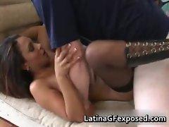 Latina chick on a warm blowjob