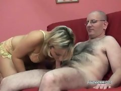 Blonde Lily in cute panties and sucking a cock