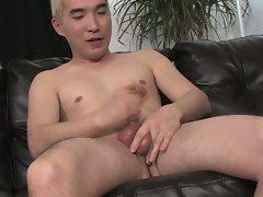 Asian cock masturbation for this slutty dick