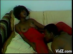 Horny ebony slut opens up for horny black fucking stud