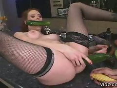 Veggie fuck action for this red head babe