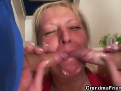 Granny loves sucking young hot repair cocks