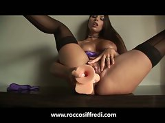 Gorgeous brunette in stockings puts on a show for rocco siffredi