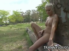 Hot punk tranny jerking off in the woods