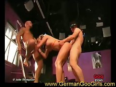 German chick sucks cock after getting double penetrated hardcore