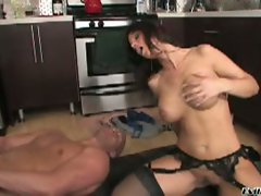 Busty brunette mom gets dressed after