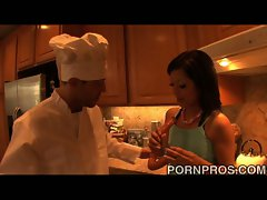 Dirty brunette has her cunt fucks by the chef