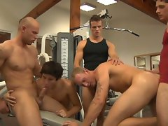Horny english gay dudes fucking hard in a hot gay group sex