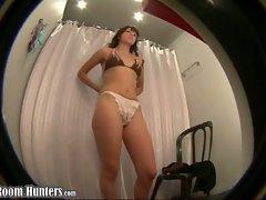 Changing room bikini shots voyeur close-ups with unaware amateur