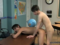 Classroom gay rimming and fucking