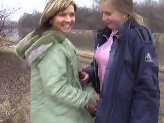 Two horny girls agree to have sex with each other outdoors