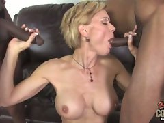 Sexy milf fucked by 2 black studs