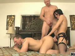 Brunette arial rose loves strapon action with two guys