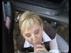 Blonde czech milf outdoor-sex on the streets