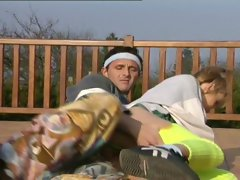 European football crazy teen couple outdoor-sex