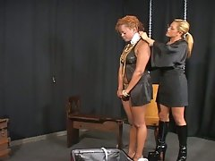 Interracial bound as lesbian blonde mistress tortures ebony slut