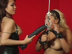 Bondage bitches in heat with a huge vibrator