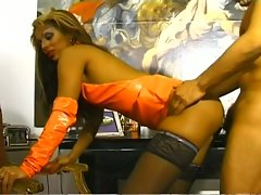 Sexy blonde shemale fucked by hard cock