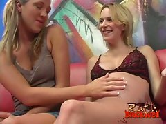 Busty blonde and pregnant blonde serve a big black cock