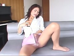 Naughty japanese milf playing hairy pussy on cam
