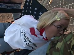 Hot blonde sucking cock for her country