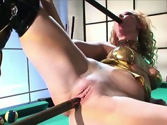Hot redhead slut masturbates on pool table