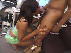 The thick busty ebony fucked very hard by a monster big dick