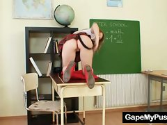 Teen school girl and teacher dirty pussy gaping