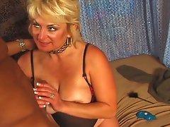 Mature blonde bitch gets big black cock action