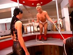 Blonde slut gets covered in hot wax