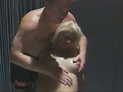 Pregnant blonde whore oiled up before fucked hardcore