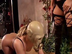 Blonde slut gets whipped in the ass