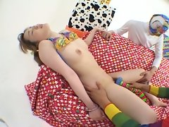 Innocent japanese teen hairy pussy played by two masked dudes