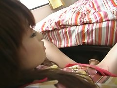 Hot japanese chick masturbates her sweeet swollen pussy