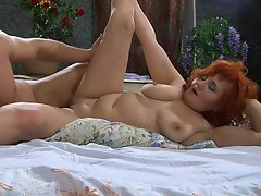Red-haired milf awakes a sleepy dude ready for numbers game and hard...