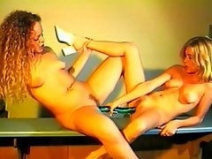 These two blonde hotties loves having sex at their kitchen counter....