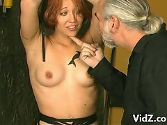 This pretty vixen's Master inserts vibrating objects inside her pussy...