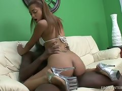 Smiling, light skinned black babe Angel Cummings wants a hot load in...