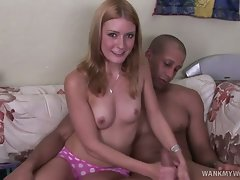 Pretty blonde next door Elli Foxx sits on her bed with her horny man....