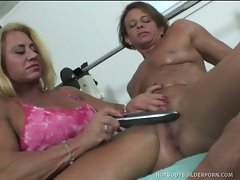 Lil Doll and Miss Hot Butt take turns playing with their huge clits...