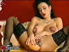 Heavily pierced slut destroys her anus with a monster dildo...