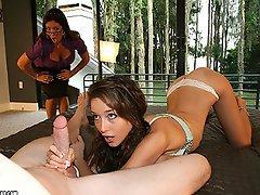 Babe Malena Morgan gives a handjob and gets a facial at Over 40...