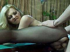 Cock-hungry babe in black crotchless tights riding dick on a billiard...