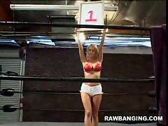 Naughty blonde ring girl Trina Michaels has a little crowd pleaser in...