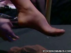 Alex Foxe and Autumn Woods are hot strippers in sexy stockings and...