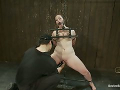 Bella suffers tight chain bondage and breast torture to cum for us....